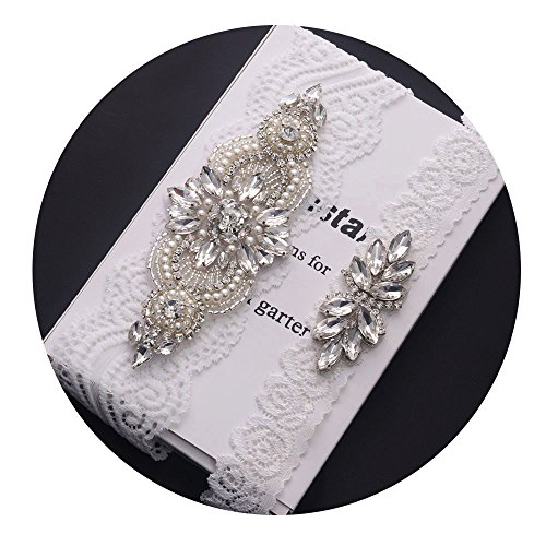 Yanstar Wedding Bridal Garter Belt Rose Rhinestone White Lace Bridal Garter Set (L(20''-21''), Silver)