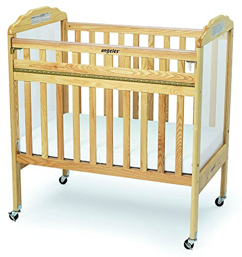 Hardwood Drop Side Crib (Angeles Compact Drop Gate Clear View Crib, Natural)