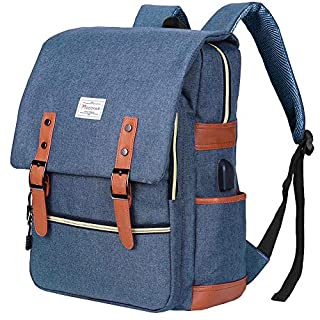 Modoker Vintage Laptop Backpack School College Bag Bookbags for Women Men,Travel Laptop Backpack with USB Charging Port Fashion Backpack Rucksack Fits 15 inch Notebook (Blue)