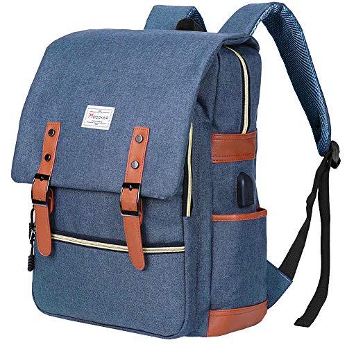 (Modoker Vintage Laptop Backpack Travel Bookbag for Women Men,School College Backpack with USB Charging Port Fashion Backpack Purse Fits 15 inch Notebook (Blue))