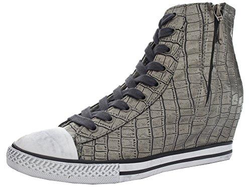 Amiana Women's Casual Croc Pattern Wedge Sneaker, Pewter, 37 EU / 6 US