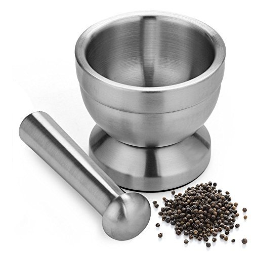 Apothecary's Grinder   Indestructible Non Toxic 18/8 Stainless Steel Mortar and Pestle for Crushing Grinding Ergonomic Design with Anti Slip Base and Comfy Grip Dishwasher Safe Series Sleek Silver - Cone Pumice