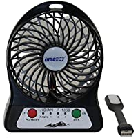 Innobay® Innovative Pocket Rechargeable Fan Built-in with 4400mah Lithium Battery Also Working As Power Bank (Black)