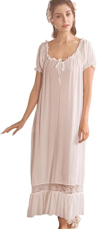 Camisones para Mujer,Algodón Casual Manga Corta Sleepdress Pijamas Enfermería Blanco: Amazon.es: Ropa y accesorios