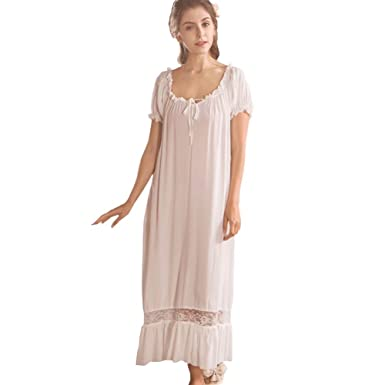 Flaydigo Ladies Long Victorian Style White Cotton Short Sleeve Nightdress  Nightgown with Plus Sizes  Amazon.co.uk  Clothing 81915c90b