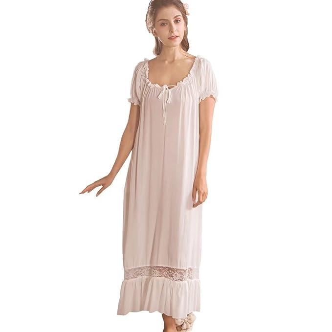Camisones para Mujer,Algodón Casual Manga Corta Sleepdress Pijamas Enfermería Blanco