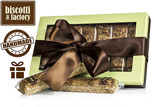 The Biscotti Factory Caramel Pecan Biscotti Gift Box, Individually Wrapped Biscottis, Hand Crafted, Gourmet Gift Basket, Valentine's Gift, Certified Kosher, No Added Preservatives (Pistachio Color)