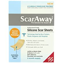 """Scaraway Professional Grade Silicone Scar Treatment Sheets 1. 5"""" x 3"""" 8 Count"""