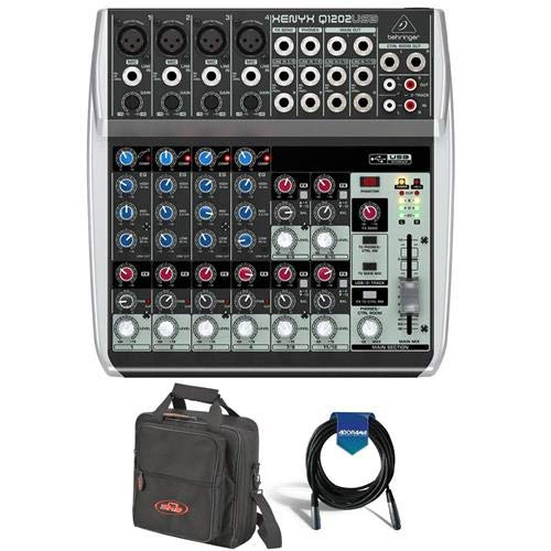 (Behringer Xenyx Q1202USB Premium 12-Input 2-Bus Mixer with Xenyx Mic Preamps and Compressors, British EQs and USB/Audio Interface - Bundle with Equipment/Mixer Bag, 20' Heavy Duty XLR Mic Cable)