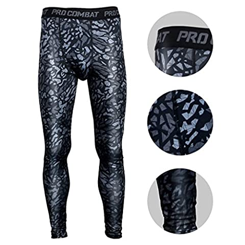 BeneU® Mens Camouflage Sports Running Basketball Compression Tight Leggings Pants(Style:Black Rock Size:M)