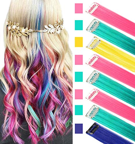 RHY 8PCS Princess Party Highlights Clip in Colored Hair Extensions Costumes Wig for American Girls/Dolls(BPTY)]()