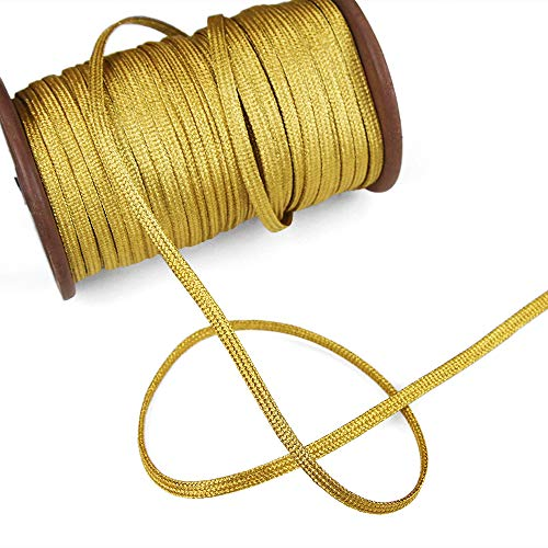 Gold Flat Braid - 5 Yards of Piper 5mm Metallic Flat Cord (for Loops and Curves), Yellow Gold