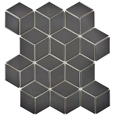 "SomerTile FMTRHOMG Retro Rhombus Porcelain Mosaic Floor & Wall Tile, 10.5"" x 12.125"", Matte Grey"