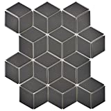 SomerTile FMTRHOMG Retro Rhombus Porcelain Mosaic Floor & Wall Tile, 10.5'' x 12.125'', Matte Grey