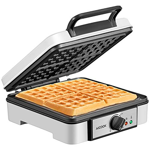 Belgian Waffle Maker Aicook, 4-Slice Waffle Iron 1200W with Temperature Control, Non-Stick, Electric Waffle Machine made of Anti-scald Phenolic Plastic, Easy to Use, Clean and Store (Maker Waffle 4 Belgian Slice)