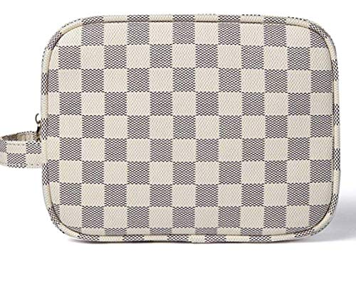 AMRA Luxury Checkered Make Up Bag | PU Vegan Leather Cosmetic Toiletry Travel Cases Portable Makeup Bag for Women | Size: 8.2