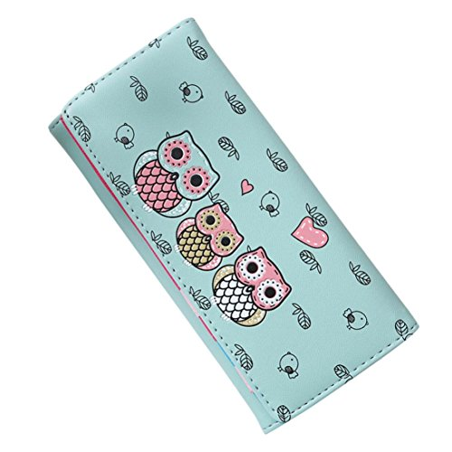 (Women's Wallet Cute Cat Wallet Coin Purse Bifold Long Purse with Zipper (Green))