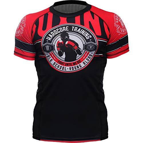 Hardcore Training Rash Guard Men's Round - Short Sleeve - Base Layer - MMA Crossfit BJJ Gym No-Gi-XL ()