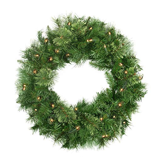 """Northlight 24"""" Pre-Lit Mixed Cashmere Pine Artificial Christmas Wreath - Clear Lights"""