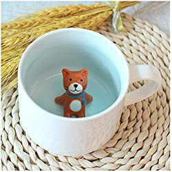 3D Cute Cartoon Miniature Animal Figurine Ceramics Coffee Cup - Baby Cat Inside, Best Office Cup & Birthday Gift (Cat)
