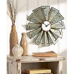 Lauryn Janae Rustic Vintage Antique Country Retro Metal Roman Numeral Windmill Wall Clock