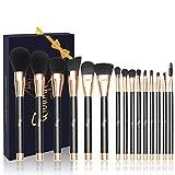 Qivange Makeup Brushes, Soft Cosmetic Powder Highlighter Brush Professional Makeup Brush Set with Gift Box(15 pcs, Black with Rose Gold)
