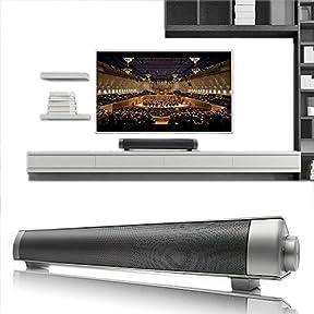 Elecsoul 10W (5Wx2) 3.0 USB Wireless Bluetooth Soundbar with Passive Radiators Support, 3.5 AUX and TF Card -...