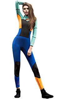 Micosuza Womens Full Wetsuits Premium 1.5mm Neoprene Long Sleeve Long Leg  Back Zip for Diving 0701aa8e4