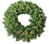 Jolly Workshop 24'' Pine Wreath 250 tips and 50 Concave Soft White LED lights w/ Battery Operated-Timer