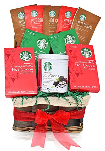 Starbucks Christmas Gift Baskets - HOT COCOA VARIETY - The Most Popular Holiday Flavors - Peppermint, Double Chocolate and Classic - Christmas Gifts for Family, Friends, Him, Her
