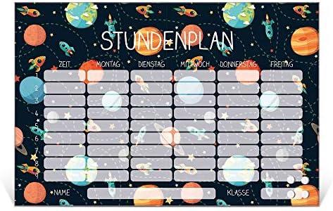 BANJADO Stundenplan abwischbar aus Glas   Terminkalender magnetisch mit Stift   Planer 45cm x 30cm für Mädchen und Jungen mit Motiv Planet Cruiser   Wochenplaner mit Notizen