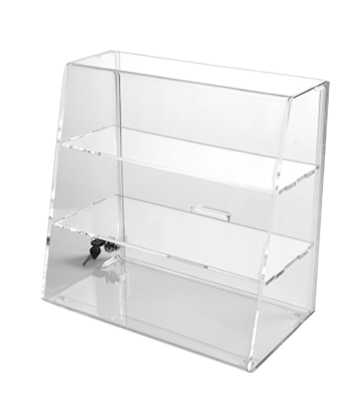 amazon com acrylic display case with 2 straight shelves locking rh amazon com