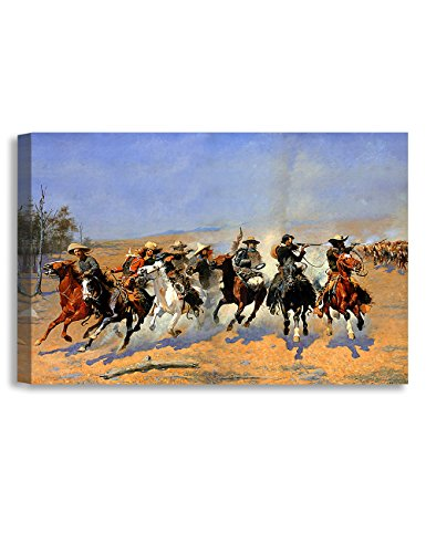 (DECORARTS -A Dash for The Timber, Frederic Remington Classic Art Reproductions. Giclee Canvas Prints Wall Art for Home Decor 36x24 x1.5)