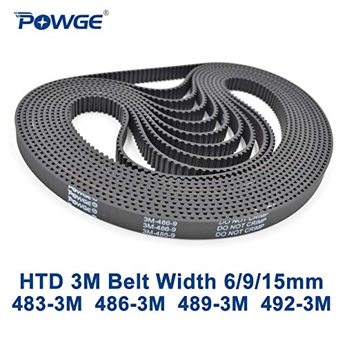 Ochoos HTD 3M Timing Belt C= 483 486 489 492 Width 6/9/15mm Teeth 161 162 163 164 HTD3M synchronous 483-3M 486-3M 489-3M 492-3M - (Width: 15mm, Length: 489mm Teeth 163, Number of Pcs: 5pcs)