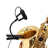 Cardioid Condenser Clip-on Instrument Saxophone Toms, Brass and Percussion Microphone for DSLR Camera Canon EOS DSLR 5D Mark II III 6D 7D 70D 60D T6s T7i T6i Nikon Sony Camcorder Zoom Tascam Recorder
