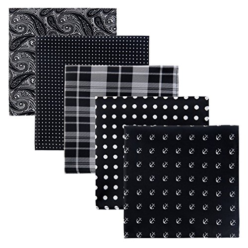 Retreez 5 Piece Assorted Woven Microfiber Premium Pocket Square Gift Box Set - Set 009