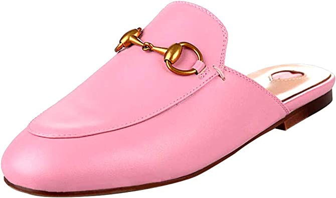 Womens Real Leather Backless Loafer Slipper Mule Slide Shoes Slip On Round Toe