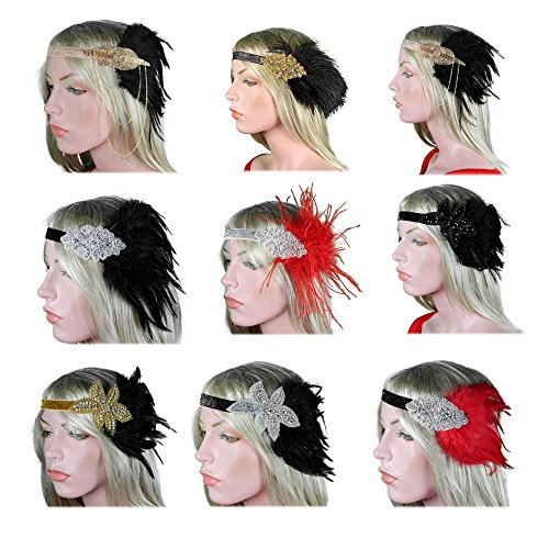 Women 20s 30s Vintage 1920s Gatsby Black Silver Gold Bronze Red So;ver Headpiece Headbands Flapper Feather Headdress