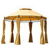 Outsunny 3.5M Diameter Round Patio Garden Metal Framed Gazebo Marquee Party Tent Canopy Shelter Pavilion with Sidewalls - Orange