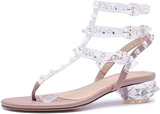 JIANXIN Clip Transparent Orteil Fairy Chaussures Talon Épais Sandales Femme Fashion avec Summer (Taille : EU 36/US 5.5/UK 3.5/JP 23cm)