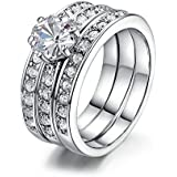 Sumanee Fashion Flower Women 3 Pcs Men Eternity Ring Set Zircon Silver Plated Wedding (7)