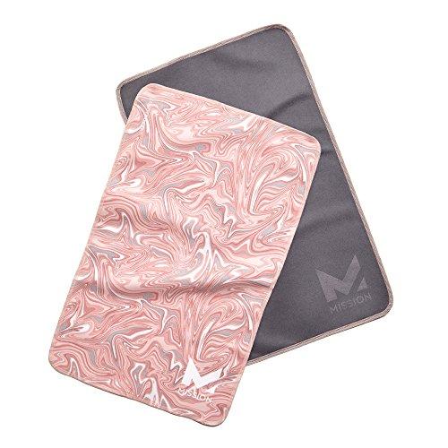 Mission VaporActive Yoga Hand Towel (Pack 2), Glaze Quartz Pink/Solid Charcoal, 10
