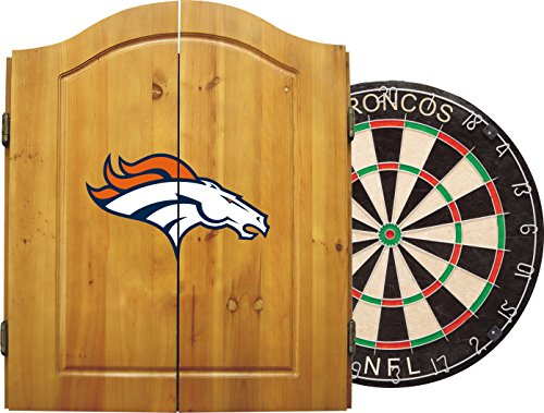 Imperial Officially Licensed NFL Merchandise: Dart Cabinet Set with Steel Tip Bristle Dartboard and Darts, Denver Broncos