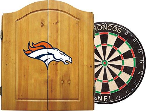 Imperial Officially Licensed NFL Merchandise: Dart Cabinet Set with Steel Tip Bristle Dartboard and Darts, Denver Broncos