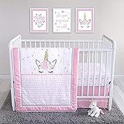 Mystical Dreams Unicorn 4 Piece Crib Bedding Set, Pink Girls Nursery