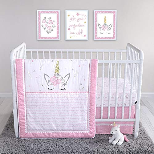 Mystical Dreams Unicorn 4 Piece Crib Bedding Set, Pink Girls Nursery