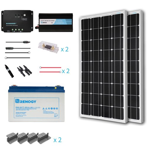 Renogy 200 Watts 12 Volt Complete Solar Panel kit Monocrystalline with Charge Controller +Mounts+ 100AH Gel Battery+ 500W Pure Sinve Inverter