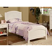 Contemporary White Finish Kids Twin Bed by Poundex