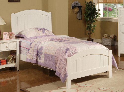 amazoncom contemporary white finish kids twin bed by poundex kitchen dining - Twin Bed Frames For Kids