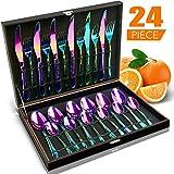 Silverware Set HOBO 24-Piece Flatware Set Service for 6, Stainless Steel Tableware Cutlery, Include Knife/Fork/Spoon/Teaspoon, For Kitchen,Housewarming Gift (Rainbow Multicolor)
